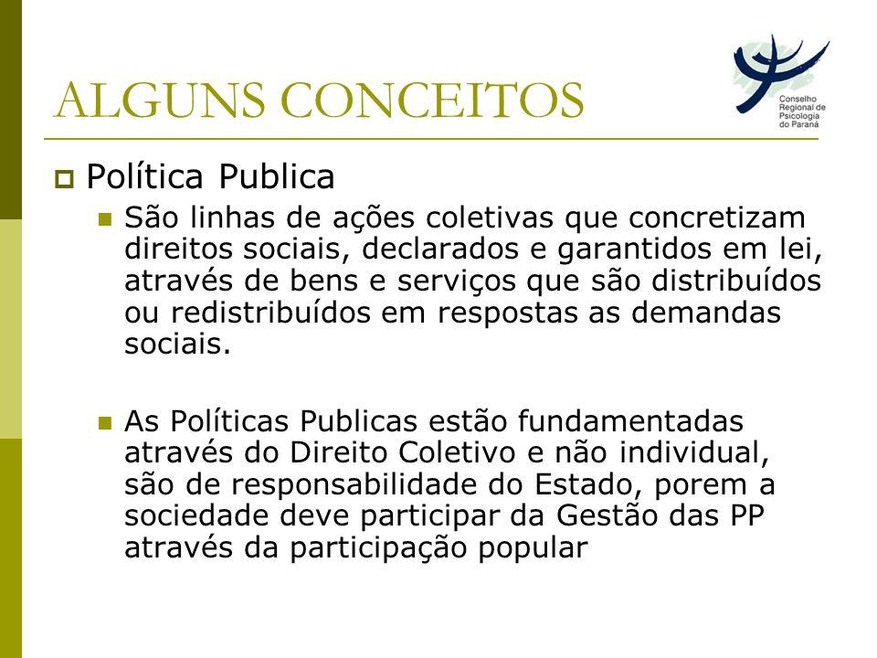 ALGUNS CONCEITOS Política Publica São linhas de ações coletivas que concretizam direitos sociais, declarados e garantidos em lei, através de bens e serviços que são distribuídos ou redistribuídos em respostas as demandas sociais.