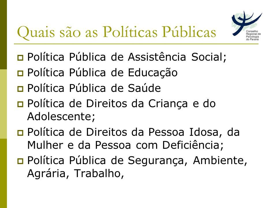 Quais são as Políticas Públicas Política Pública de Assistência Social; Política Pública de Educação Política Pública de Saúde Política de Direitos da Criança e do Adolescente; Política de Direitos da Pessoa Idosa, da Mulher e da Pessoa com Deficiência; Política Pública de Segurança, Ambiente, Agrária, Trabalho,