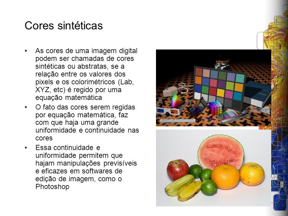 Cores sintéticas As cores de uma imagem digital podem ser chamadas de cores sintéticas ou abstratas, se a relação entre os valores dos pixels e os col