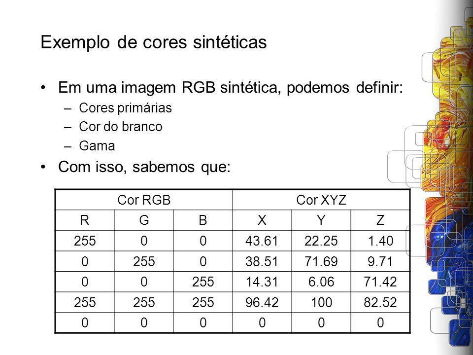 Exemplo de cores sintéticas Em uma imagem RGB sintética, podemos definir: –Cores primárias –Cor do branco –Gama Com isso, sabemos que: Cor RGBCor XYZ