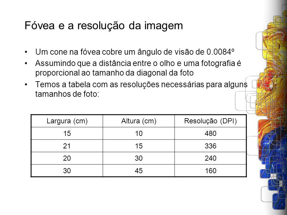 Fóvea e a resolução da imagem Um cone na fóvea cobre um ângulo de visão de 0.0084º Assumindo que a distância entre o olho e uma fotografia é proporcio