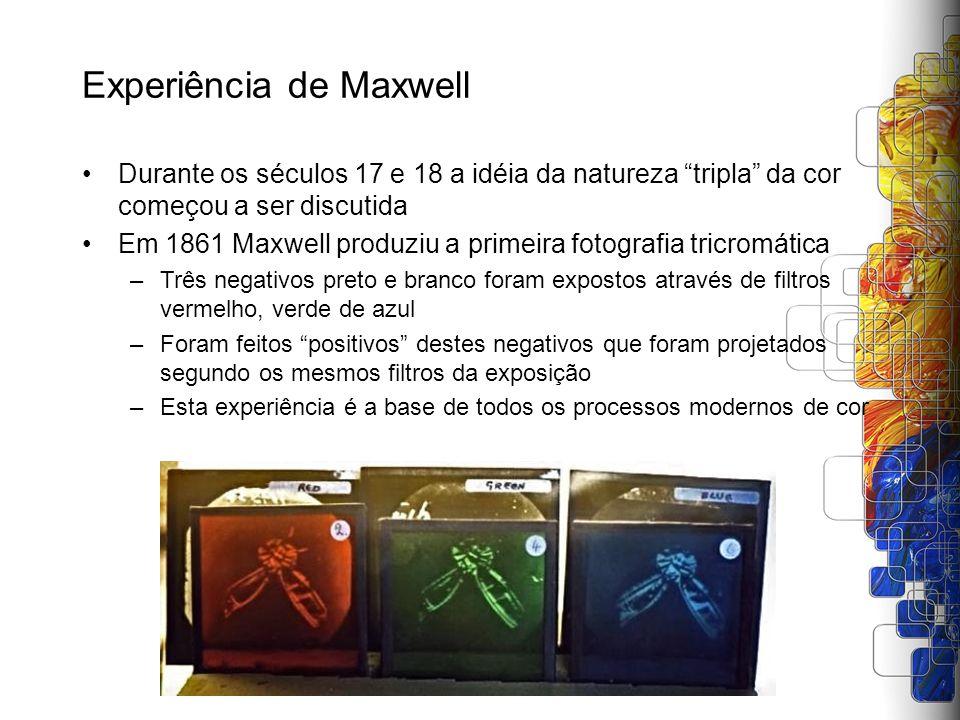 Experiência de Maxwell Durante os séculos 17 e 18 a idéia da natureza tripla da cor começou a ser discutida Em 1861 Maxwell produziu a primeira fotogr