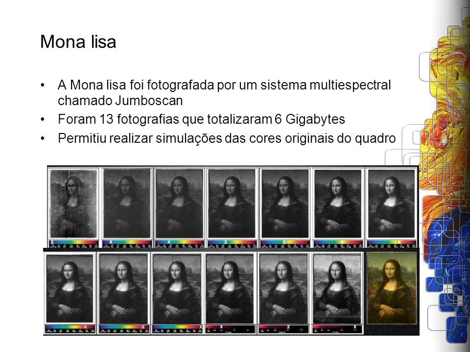 Mona lisa A Mona lisa foi fotografada por um sistema multiespectral chamado Jumboscan Foram 13 fotografias que totalizaram 6 Gigabytes Permitiu realiz