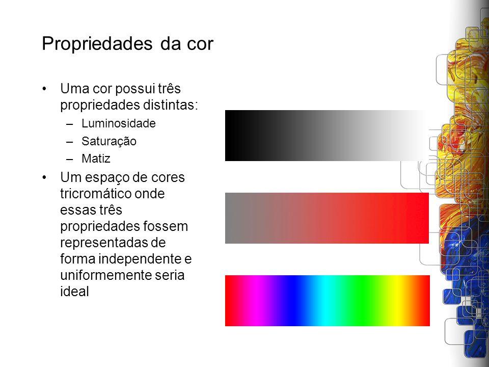 Propriedades da cor Uma cor possui três propriedades distintas: –Luminosidade –Saturação –Matiz Um espaço de cores tricromático onde essas três propri