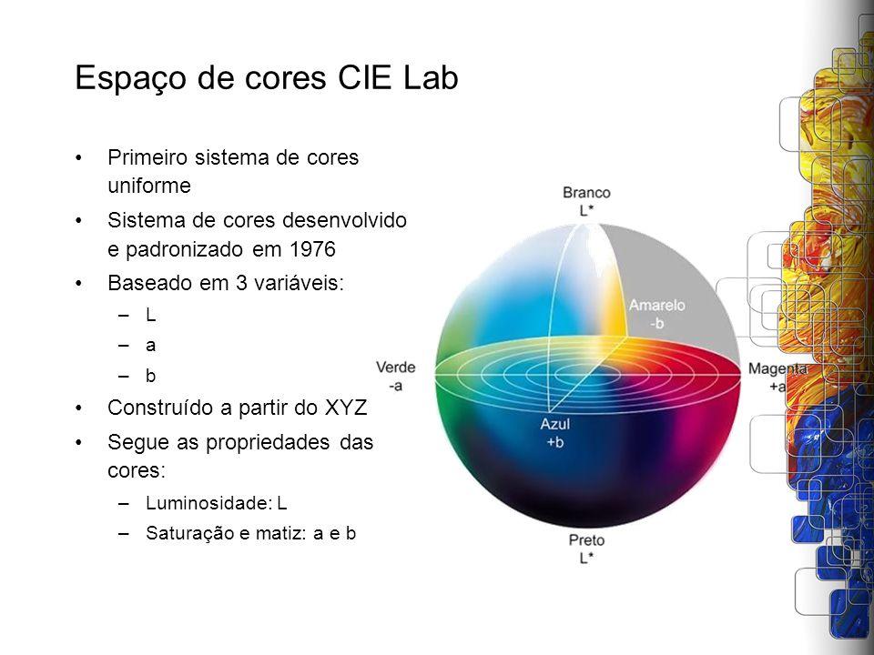 Espaço de cores CIE Lab Primeiro sistema de cores uniforme Sistema de cores desenvolvido e padronizado em 1976 Baseado em 3 variáveis: –L –a –b Constr