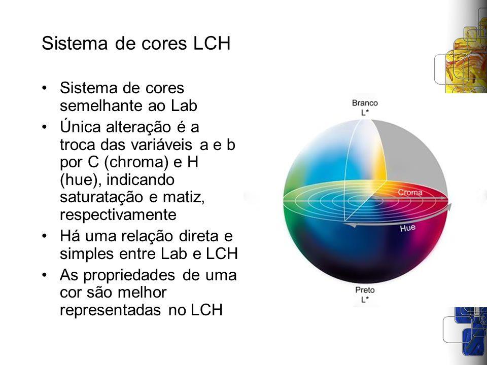 Sistema de cores LCH Sistema de cores semelhante ao Lab Única alteração é a troca das variáveis a e b por C (chroma) e H (hue), indicando saturatação