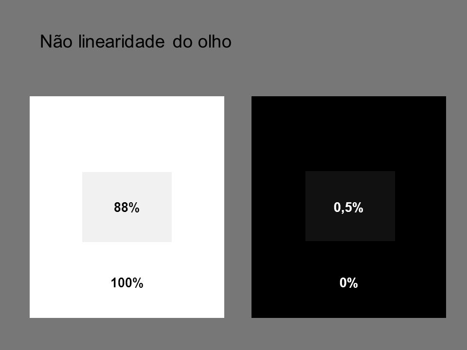 Não linearidade do olho 88% 100% 0% 0,5%