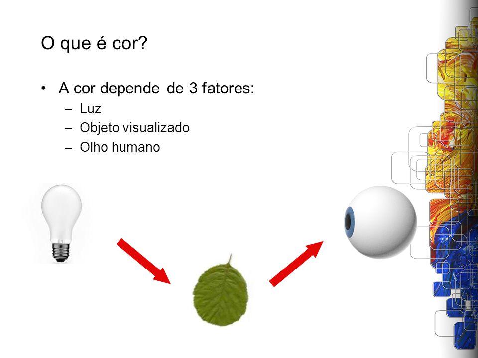 A cor depende de 3 fatores: –Luz –Objeto visualizado –Olho humano O que é cor?