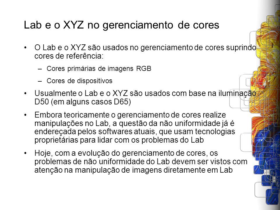 Lab e o XYZ no gerenciamento de cores O Lab e o XYZ são usados no gerenciamento de cores suprindo cores de referência: –Cores primárias de imagens RGB