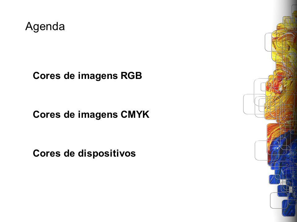 Agenda Cores de imagens RGB Cores de imagens CMYK Cores de dispositivos