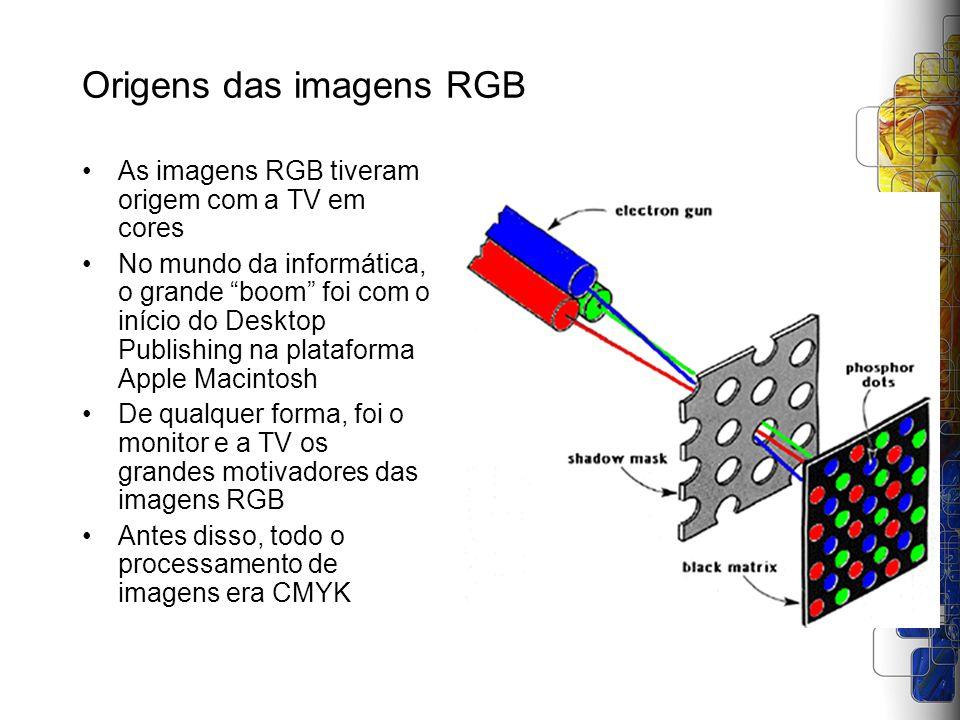 Origens das imagens RGB As imagens RGB tiveram origem com a TV em cores No mundo da informática, o grande boom foi com o início do Desktop Publishing
