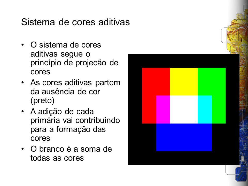 Sistema de cores aditivas O sistema de cores aditivas segue o princípio de projecão de cores As cores aditivas partem da ausência de cor (preto) A adi