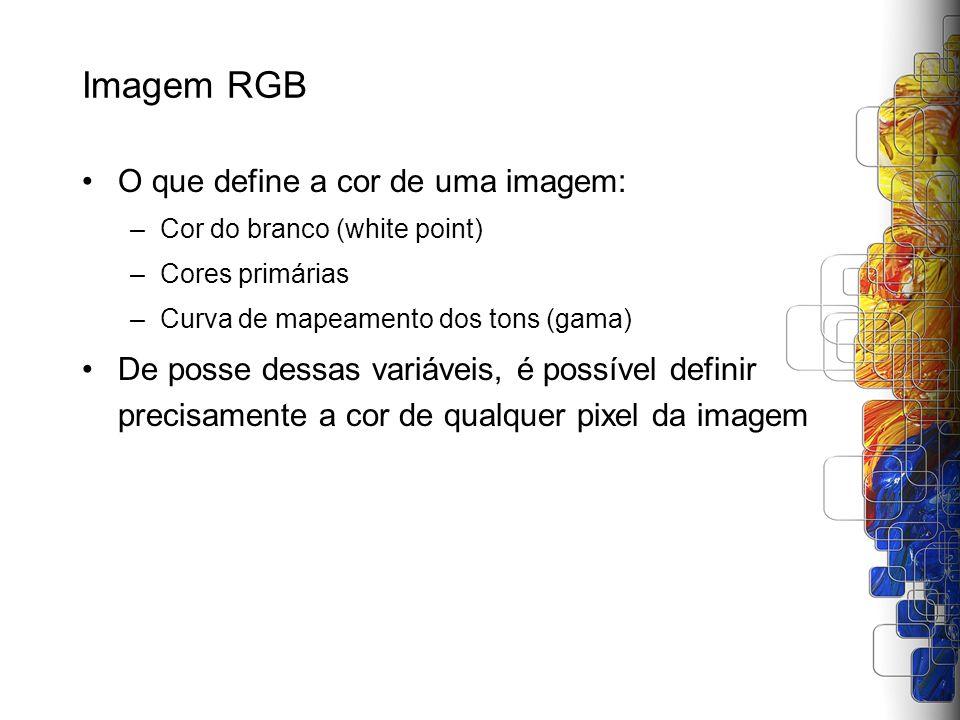 Imagem RGB O que define a cor de uma imagem: –Cor do branco (white point) –Cores primárias –Curva de mapeamento dos tons (gama) De posse dessas variáv