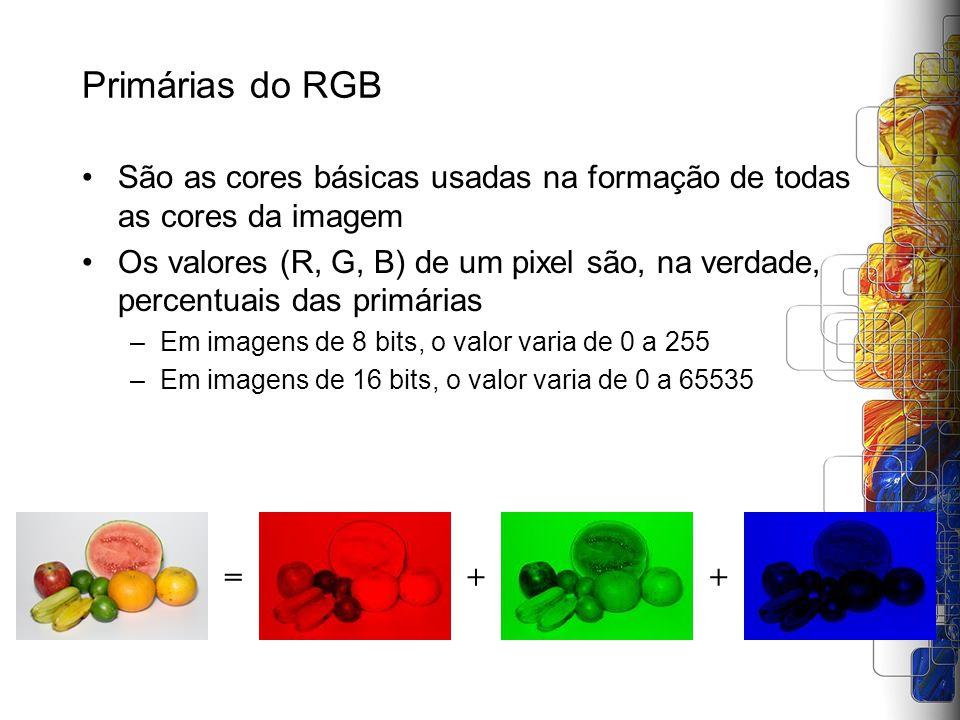 Primárias do RGB São as cores básicas usadas na formação de todas as cores da imagem Os valores (R, G, B) de um pixel são, na verdade, percentuais das