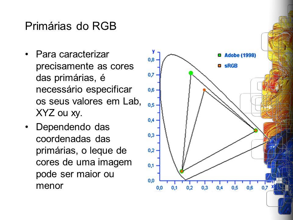 Primárias do RGB Para caracterizar precisamente as cores das primárias, é necessário especificar os seus valores em Lab, XYZ ou xy. Dependendo das coo