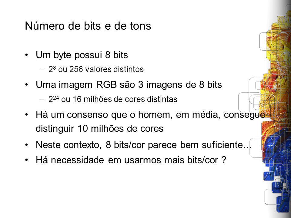 Número de bits e de tons Um byte possui 8 bits –2 8 ou 256 valores distintos Uma imagem RGB são 3 imagens de 8 bits –2 24 ou 16 milhões de cores disti