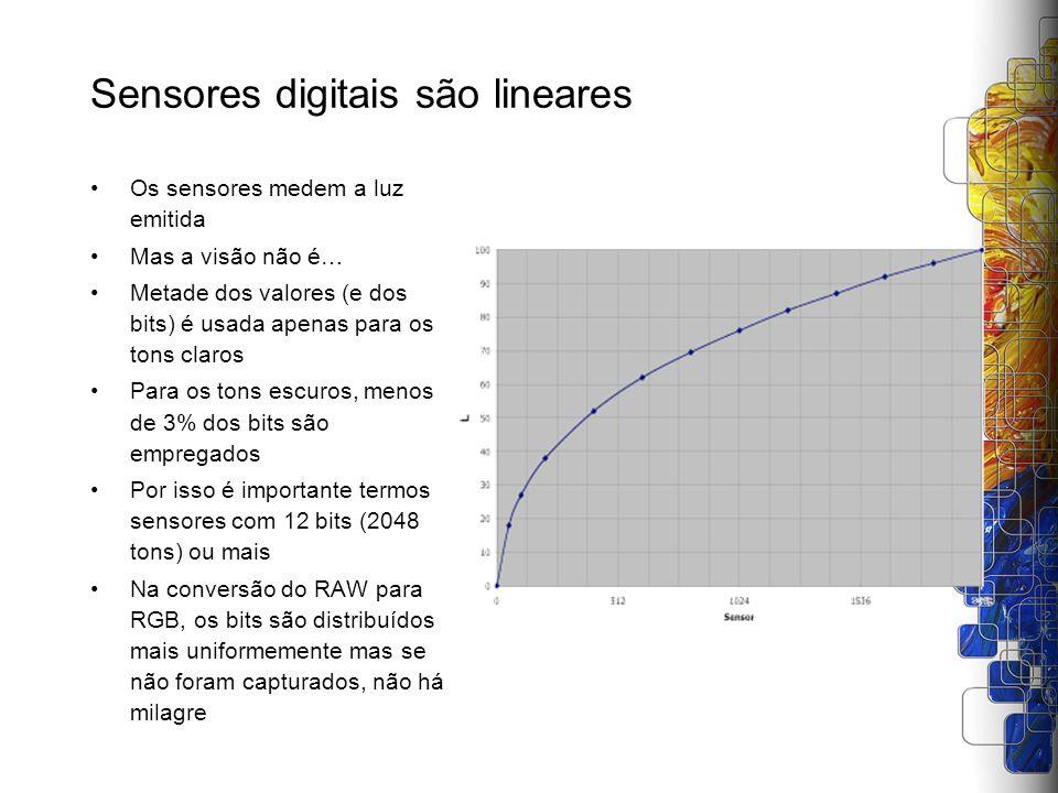 Sensores digitais são lineares Os sensores medem a luz emitida Mas a visão não é… Metade dos valores (e dos bits) é usada apenas para os tons claros P