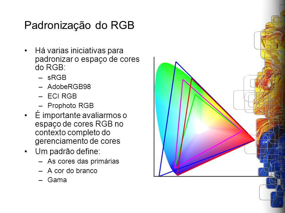 Padronização do RGB Há varias iniciativas para padronizar o espaço de cores do RGB: –sRGB –AdobeRGB98 –ECI RGB –Prophoto RGB É importante avaliarmos o