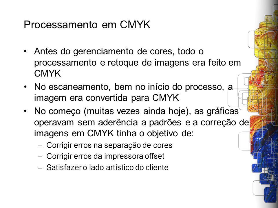 Processamento em CMYK Antes do gerenciamento de cores, todo o processamento e retoque de imagens era feito em CMYK No escaneamento, bem no início do p