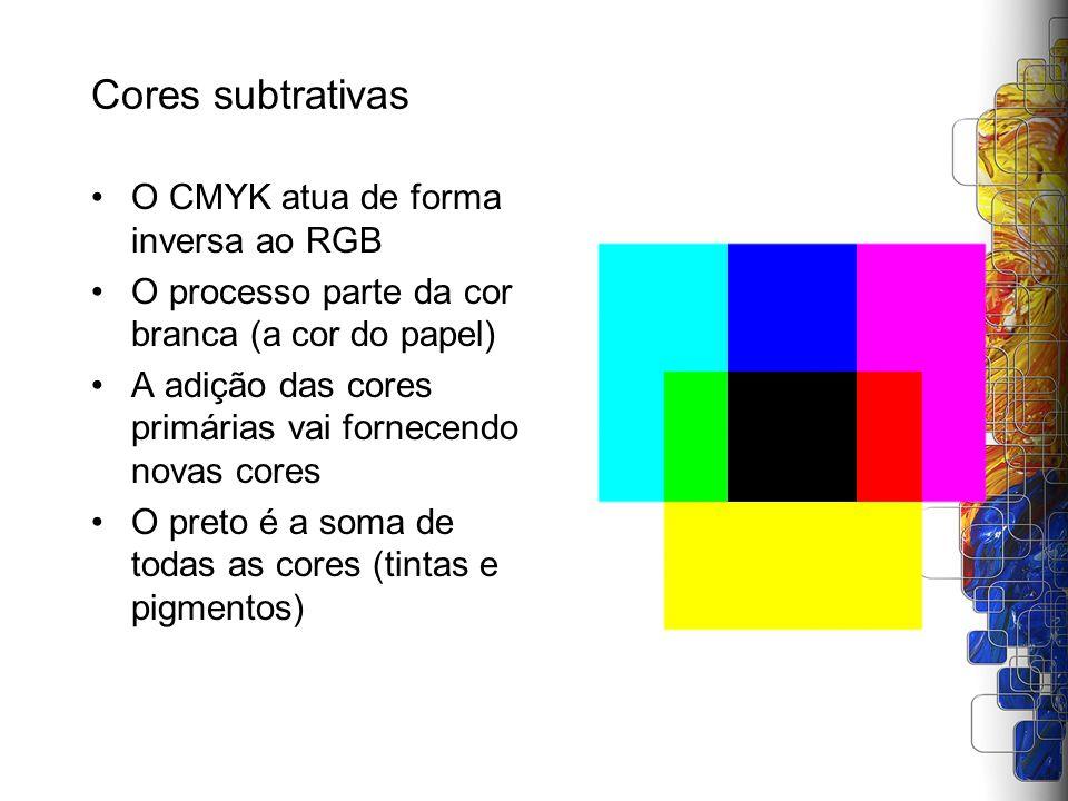 Cores subtrativas O CMYK atua de forma inversa ao RGB O processo parte da cor branca (a cor do papel) A adição das cores primárias vai fornecendo nova
