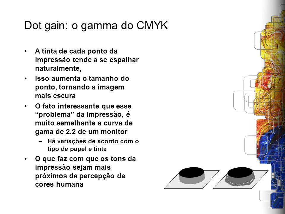 Dot gain: o gamma do CMYK A tinta de cada ponto da impressão tende a se espalhar naturalmente, Isso aumenta o tamanho do ponto, tornando a imagem mais