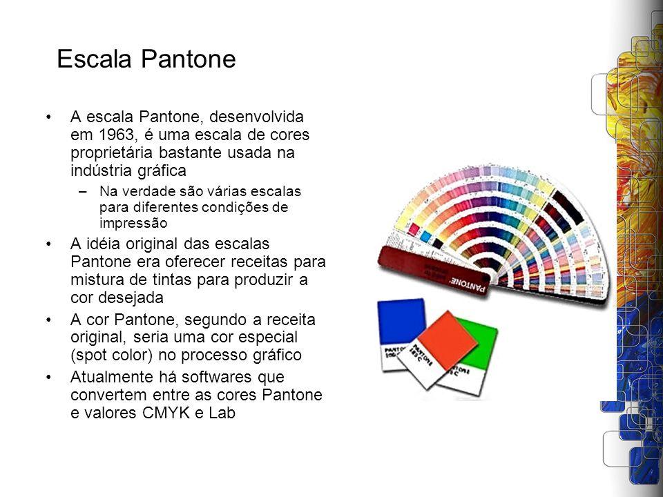 Escala Pantone A escala Pantone, desenvolvida em 1963, é uma escala de cores proprietária bastante usada na indústria gráfica –Na verdade são várias e