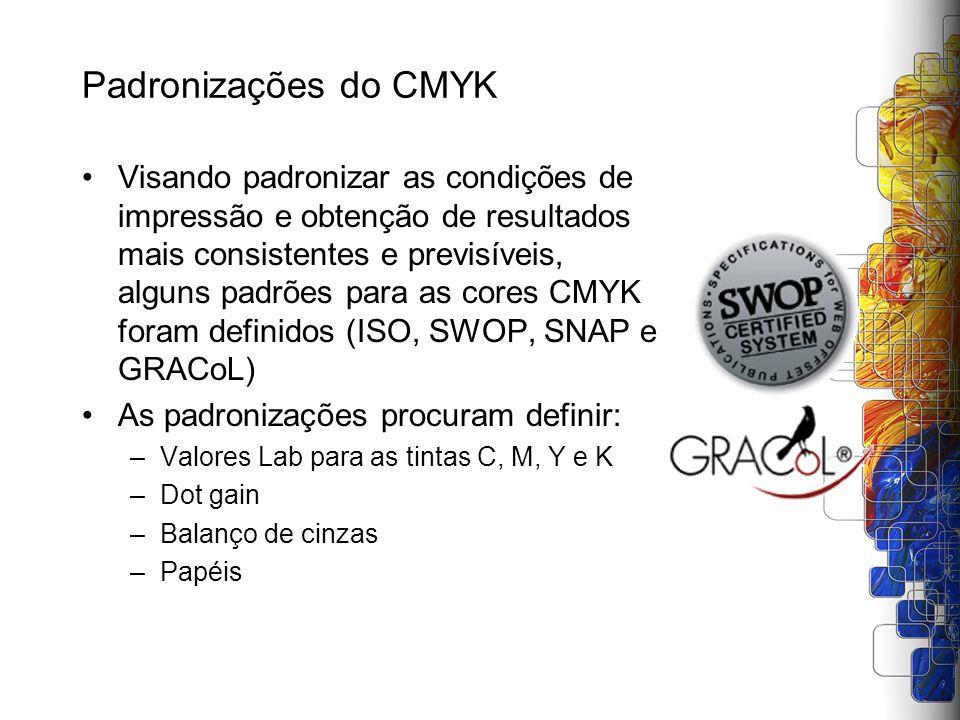 Padronizações do CMYK Visando padronizar as condições de impressão e obtenção de resultados mais consistentes e previsíveis, alguns padrões para as co