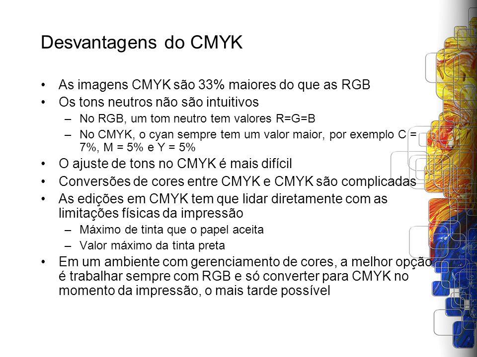 Desvantagens do CMYK As imagens CMYK são 33% maiores do que as RGB Os tons neutros não são intuitivos –No RGB, um tom neutro tem valores R=G=B –No CMY