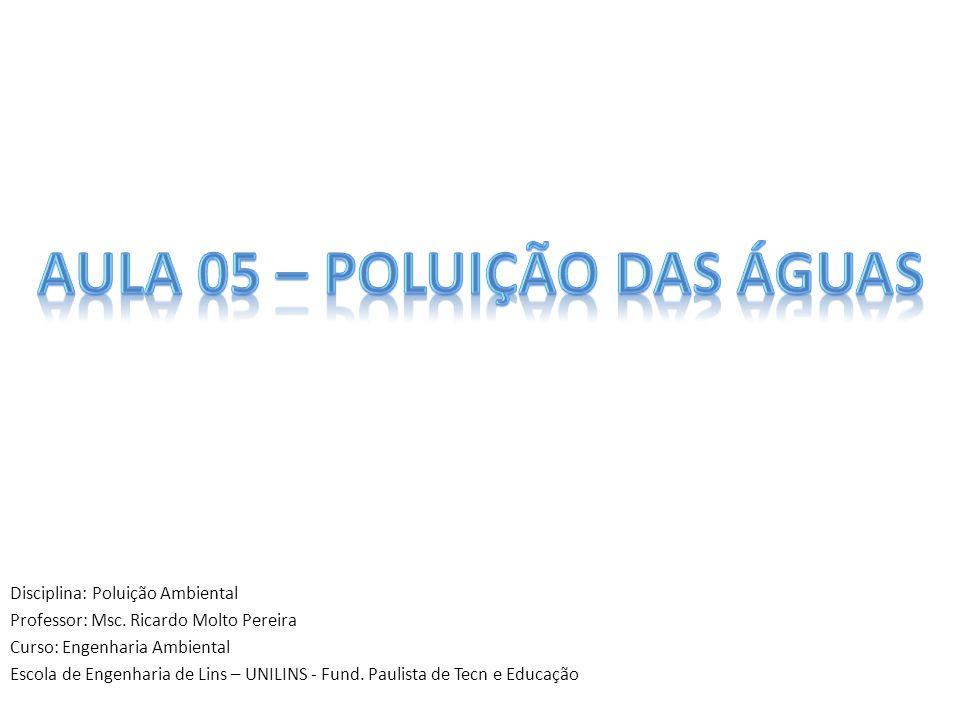 Disciplina: Poluição Ambiental Professor: Msc. Ricardo Molto Pereira Curso: Engenharia Ambiental Escola de Engenharia de Lins – UNILINS - Fund. Paulis