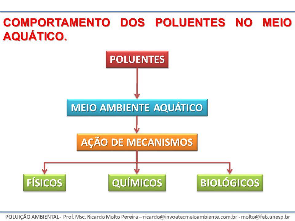 POLUIÇÃO AMBIENTAL- Prof. Msc. Ricardo Molto Pereira – ricardo@invoatecmeioambiente.com.br - molto@feb.unesp.br COMPORTAMENTO DOS POLUENTES NO MEIO AQ
