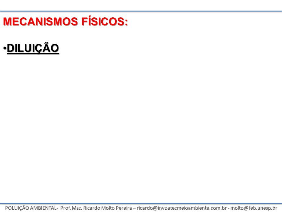 POLUIÇÃO AMBIENTAL- Prof. Msc. Ricardo Molto Pereira – ricardo@invoatecmeioambiente.com.br - molto@feb.unesp.br MECANISMOS FÍSICOS: DILUIÇÃODILUIÇÃO