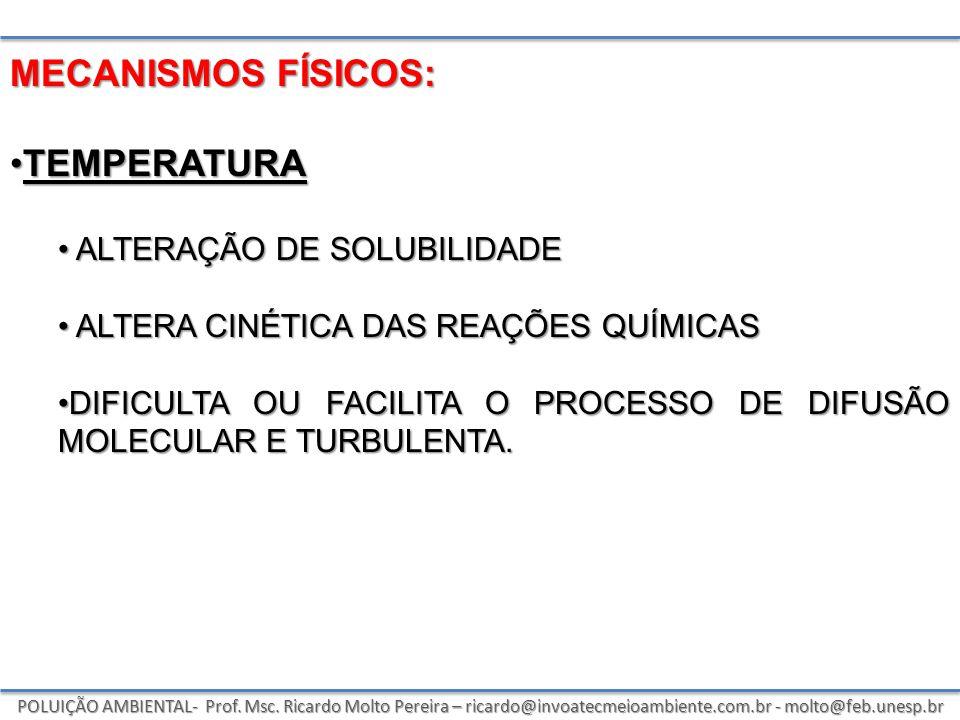 POLUIÇÃO AMBIENTAL- Prof. Msc. Ricardo Molto Pereira – ricardo@invoatecmeioambiente.com.br - molto@feb.unesp.br MECANISMOS FÍSICOS: TEMPERATURATEMPERA