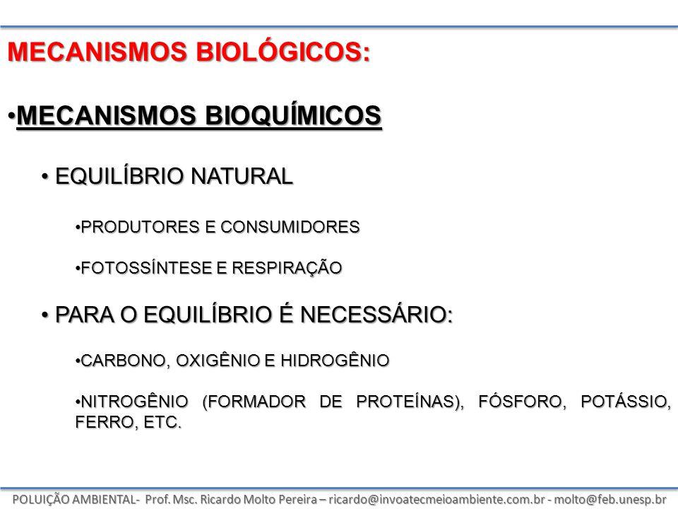 POLUIÇÃO AMBIENTAL- Prof. Msc. Ricardo Molto Pereira – ricardo@invoatecmeioambiente.com.br - molto@feb.unesp.br MECANISMOS BIOLÓGICOS: MECANISMOS BIOQ