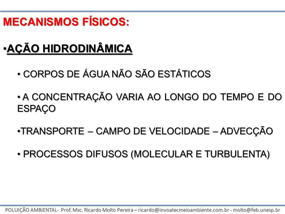 POLUIÇÃO AMBIENTAL- Prof. Msc. Ricardo Molto Pereira – ricardo@invoatecmeioambiente.com.br - molto@feb.unesp.br MECANISMOS FÍSICOS: AÇÃO HIDRODINÂMICA