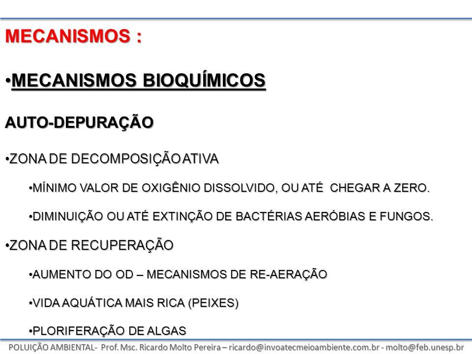 POLUIÇÃO AMBIENTAL- Prof. Msc. Ricardo Molto Pereira – ricardo@invoatecmeioambiente.com.br - molto@feb.unesp.br MECANISMOS : MECANISMOS BIOQUÍMICOSMEC