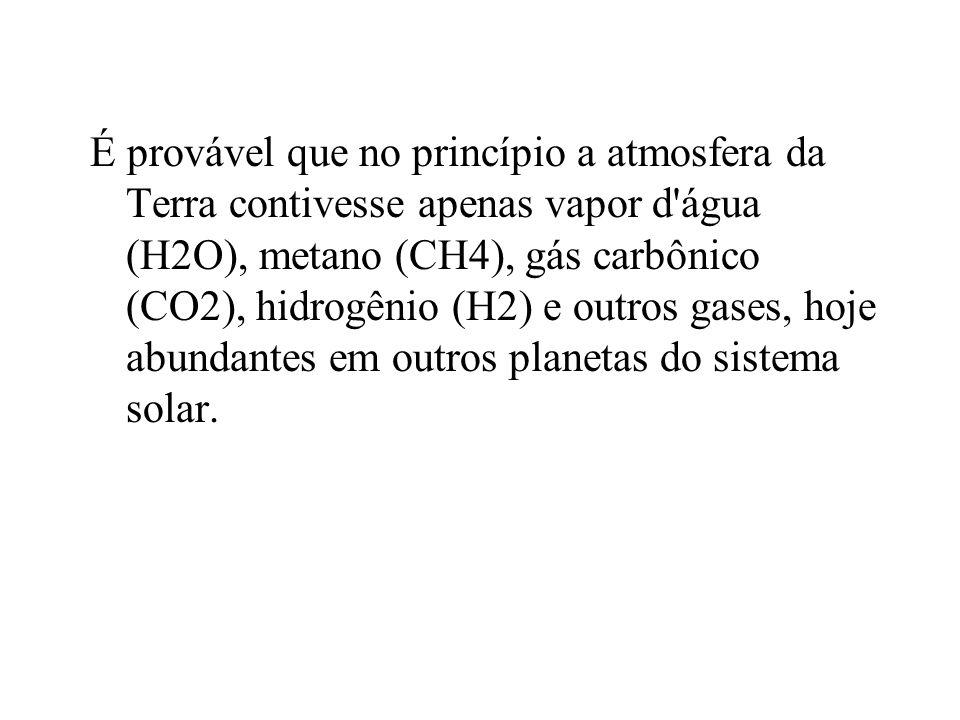 É provável que no princípio a atmosfera da Terra contivesse apenas vapor d'água (H2O), metano (CH4), gás carbônico (CO2), hidrogênio (H2) e outros gas
