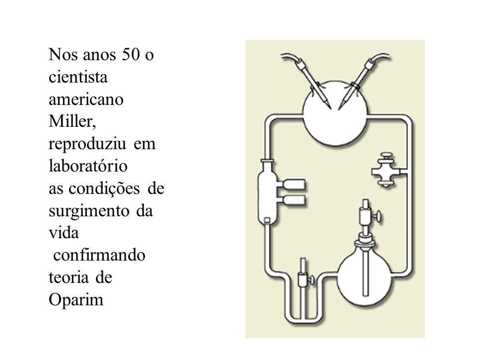 Nos anos 50 o cientista americano Miller, reproduziu em laboratório as condições de surgimento da vida confirmando teoria de Oparim