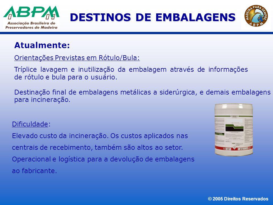 © 2005 Direitos Reservados DESTINOS DE EMBALAGENS Alternativas: Substituição de tambores metálicos por contentor de aço de 1.000 L Vantagem: Contentor - segurança no transporte, descarregamento, manuseio, além da eliminação de embalagem.