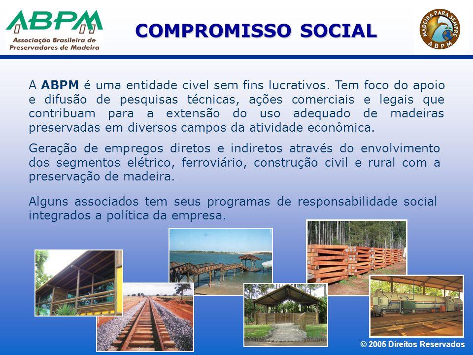 © 2005 Direitos Reservados A atividade de preservação aumenta a vida útil da madeira, reduzindo a demanda de florestas nativas, principalmente pela utilização de madeiras de reflorestamento.
