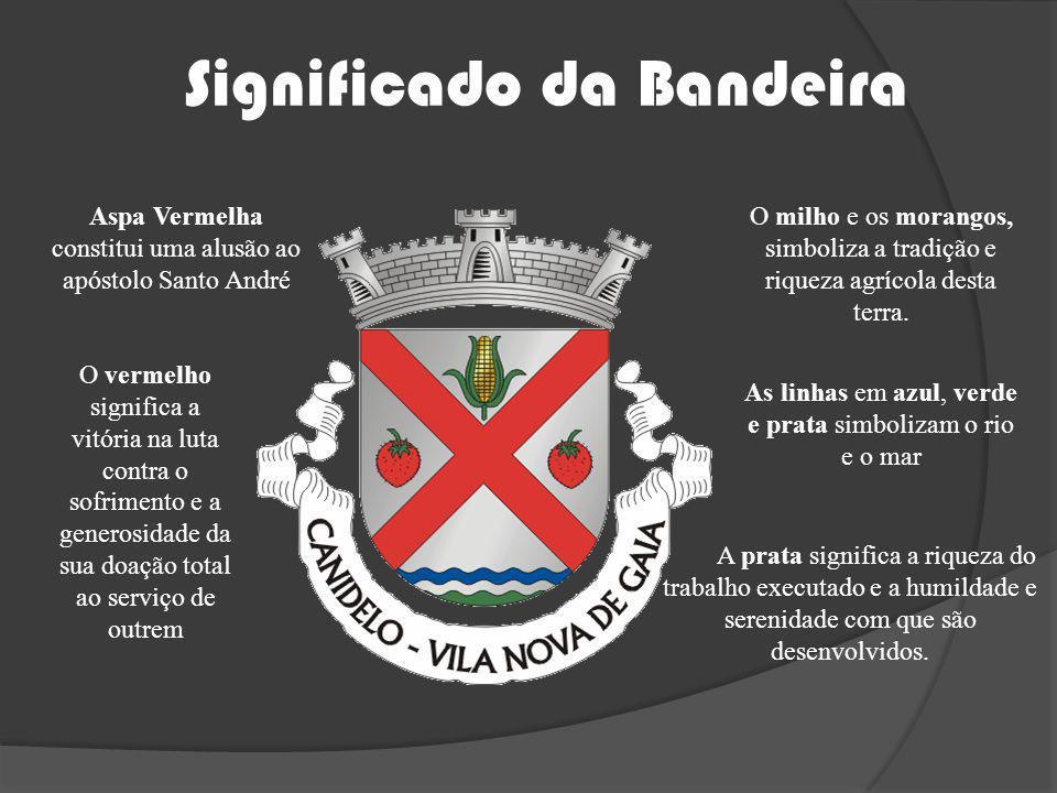 Significado da Bandeira Aspa Vermelha constitui uma alusão ao apóstolo Santo André O milho e os morangos, simboliza a tradição e riqueza agrícola dest