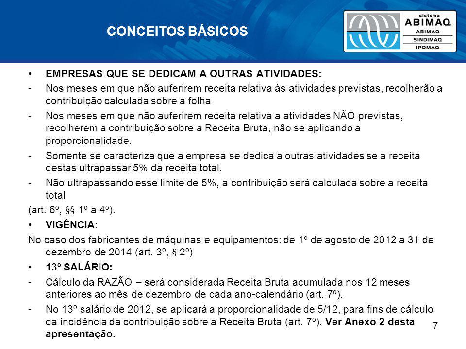 CONCEITOS BÁSICOS OPTANTES DO SIMPLES NACIONAL Não é possível a utilização de regime misto, o Regime do Simples, combinado com o da Desoneração da Folha (Solução de Consulta RFB nº 70, de 27/06/2012).