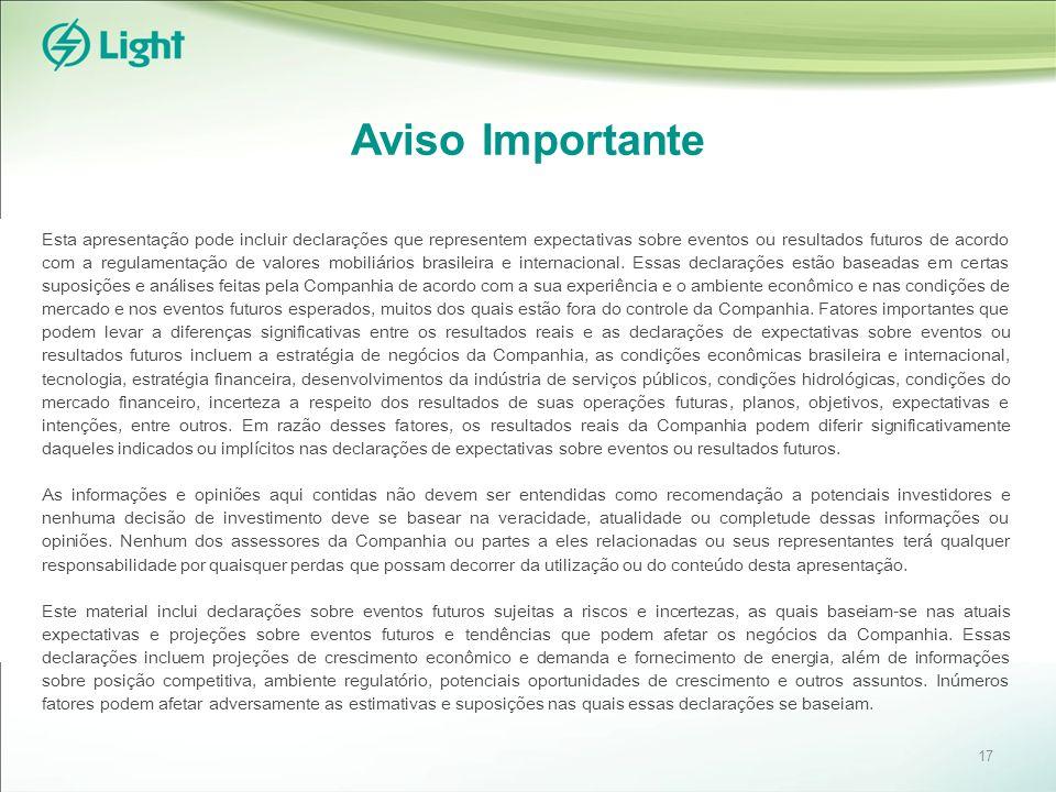 Aviso Importante Esta apresentação pode incluir declarações que representem expectativas sobre eventos ou resultados futuros de acordo com a regulamen