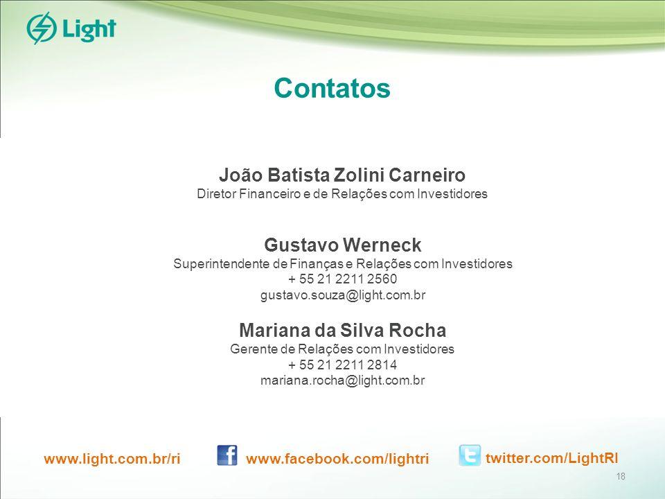 Contatos João Batista Zolini Carneiro Diretor Financeiro e de Relações com Investidores Gustavo Werneck Superintendente de Finanças e Relações com Investidores + 55 21 2211 2560 gustavo.souza@light.com.br Mariana da Silva Rocha Gerente de Relações com Investidores + 55 21 2211 2814 mariana.rocha@light.com.br www.light.com.br/ri www.facebook.com/lightritwitter.com/LightRI 18