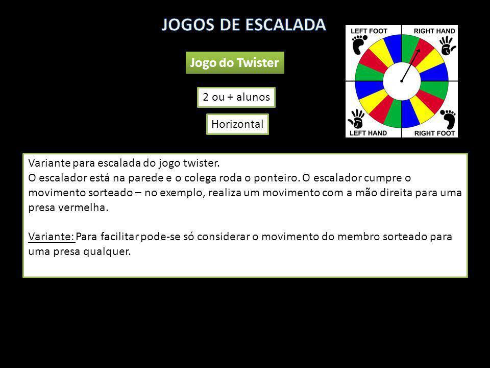 Jogo do Twister 2 ou + alunos Variante para escalada do jogo twister. O escalador está na parede e o colega roda o ponteiro. O escalador cumpre o movi
