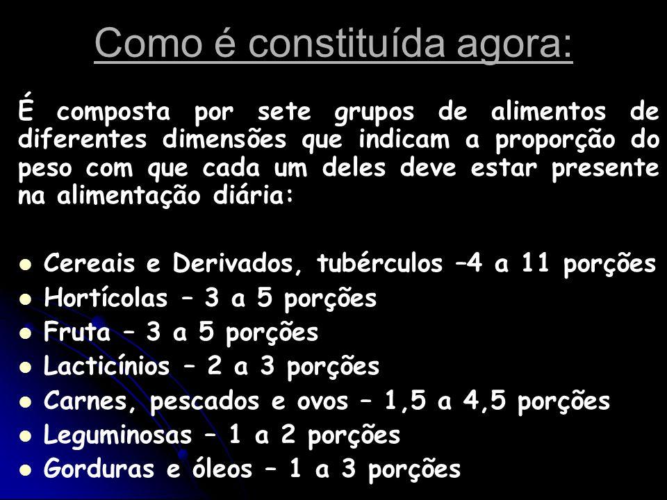 Como é constituída agora: É composta por sete grupos de alimentos de diferentes dimensões que indicam a proporção do peso com que cada um deles deve e