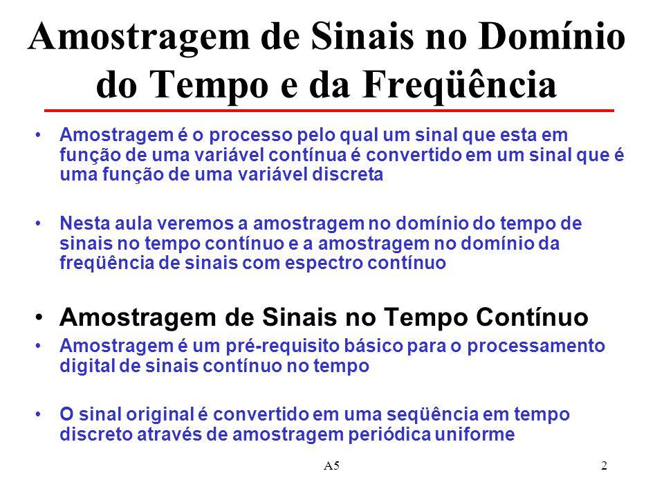 A52 Amostragem de Sinais no Domínio do Tempo e da Freqüência Amostragem é o processo pelo qual um sinal que esta em função de uma variável contínua é convertido em um sinal que é uma função de uma variável discreta Nesta aula veremos a amostragem no domínio do tempo de sinais no tempo contínuo e a amostragem no domínio da freqüência de sinais com espectro contínuo Amostragem de Sinais no Tempo Contínuo Amostragem é um pré-requisito básico para o processamento digital de sinais contínuo no tempo O sinal original é convertido em uma seqüência em tempo discreto através de amostragem periódica uniforme