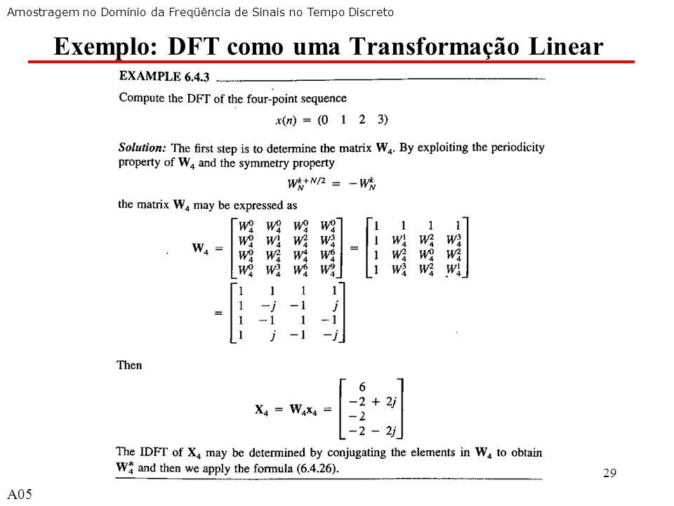 A529 Exemplo: DFT como uma Transformação Linear Amostragem no Domínio da Freqüência de Sinais no Tempo Discreto A05