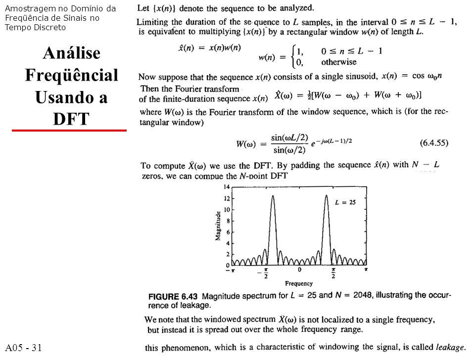 A531 Análise Freqüêncial Usando a DFT Amostragem no Domínio da Freqüência de Sinais no Tempo Discreto A05 - 31