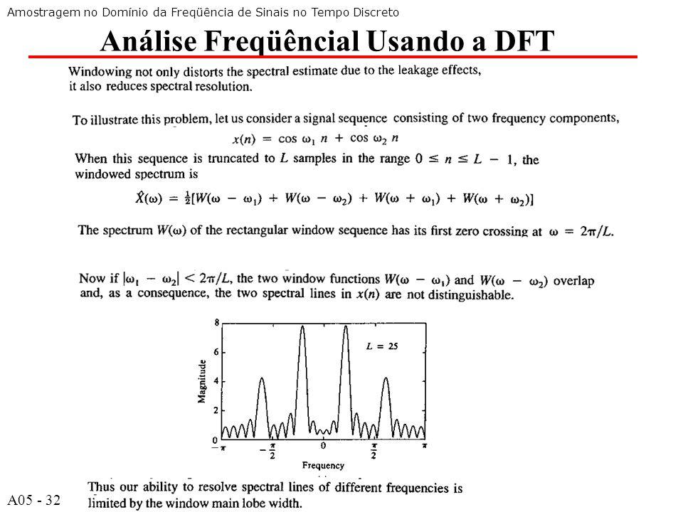 A532 Análise Freqüêncial Usando a DFT Amostragem no Domínio da Freqüência de Sinais no Tempo Discreto A05 - 32