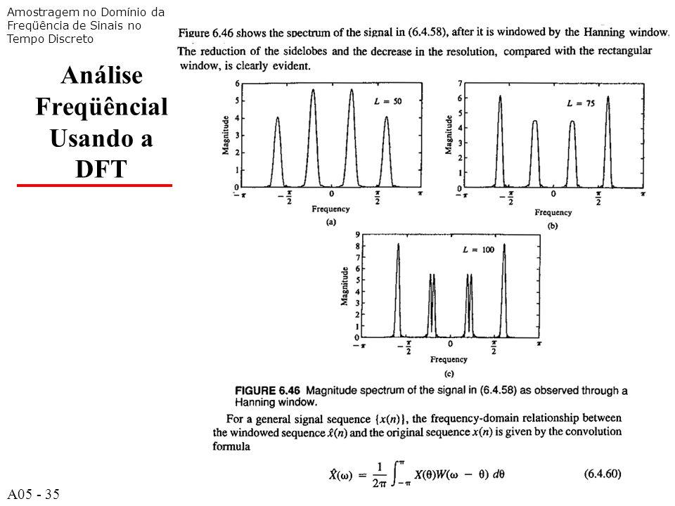 A535 Análise Freqüêncial Usando a DFT Amostragem no Domínio da Freqüência de Sinais no Tempo Discreto A05 - 35